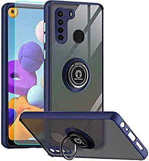 Suordii Samsung Galaxy A21 Case, Frosted Back Cover Soft Rubber Bumper with Metal Ring Kickstand [Military Grade] Phone Ca...