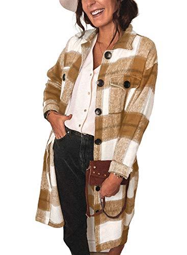 Sidefeel Women Sleeveless Open Front Knitted Long Cardigan Sweater Vest Pocket Large Khaki
