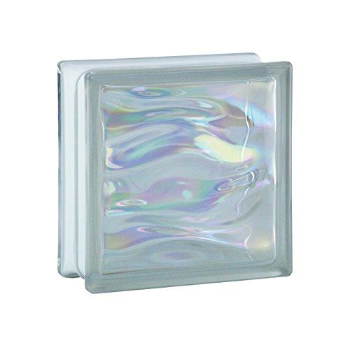 6 Stück BM Glassteine AQUA Perlmutt Klar 19x19x8 cm