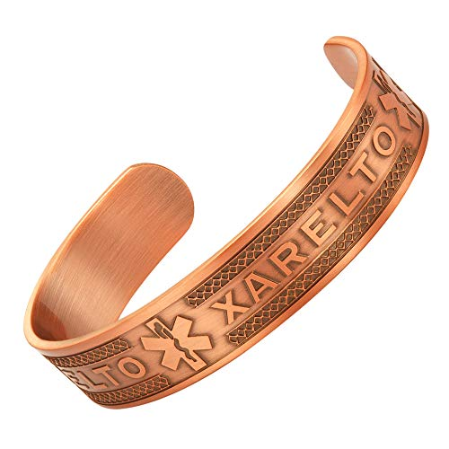 Agneti Xarelto Pure Copper Medical Alert ID Bangle Bracelet for Men and Women with Free Medical Card