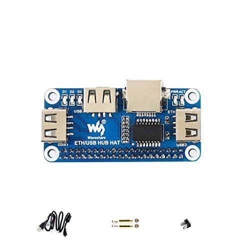Waveshare Ethernet/USB HUB Hat for Raspberry Pi, 1x RJ45 Ethernet Port Based on RTL8152B Chip, 3X USB Ports Perfectly Fit The Zero/Zero W/Zero WH