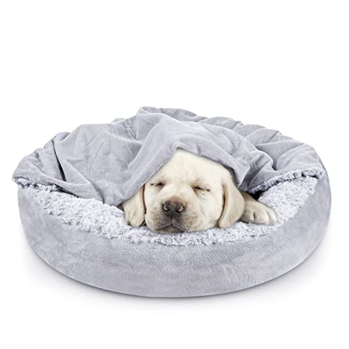 JOEJOY Small Dog Bed Cat Bed with Hooded Blanket, Cozy Cuddler Luxury Orthopedic Puppy Pet Bed, Donut Round Calming Anti-Anxiety Dog Burrow Cat Cave - Anti-Slip Bottom and Machine Washable 26 inch