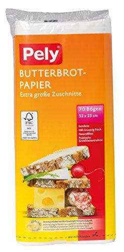 pely Butterbrotpapier-Zuschnitte, extra groß, 32x23cm, 70 Stück