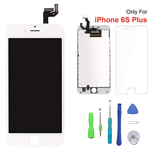 Screen Replacement for iPhone 6s Plus White 3D Touch Screen LCD Digitizer Replacement Frame Display Assembly Set with Repair Tool Kits(6s Plus, White)