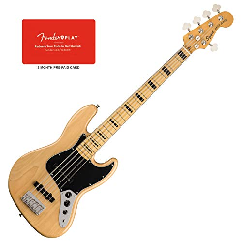 Squier 0374550521 Classic Vibe 70s Jazz Bass V, Maple Fingerboard, Natural w/Fe