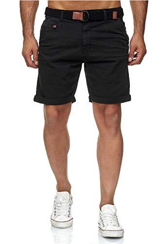 Indicode Conor - Pantalones cortos chinos para hombre, con cinturón, 100% algodón, bermudas de corte regular negro M