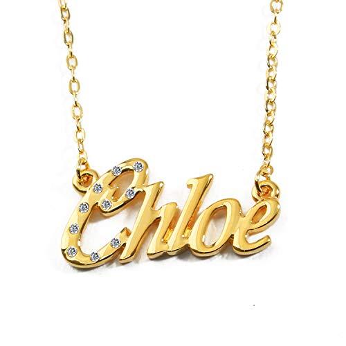 KL Chloe nombre personalizado–Collar Chapado en oro 18quilates, incluidos cristal–Cadena ajustable 16'-19–regalo gratis