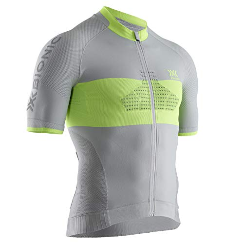 X-Bionic Invent Bike Race Zip Shirt Short Sleeve Men, Uomo, Dolomite Grey/Phyton Yellow, L