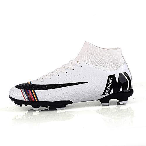 Loykind Botas De Fútbol Unisex, Calcetines Altos Zapatos De Fútbol para El Cuidado del Tobillo Botines Zapatos De Fútbol con Cordones Zapatillas De Entrenamiento