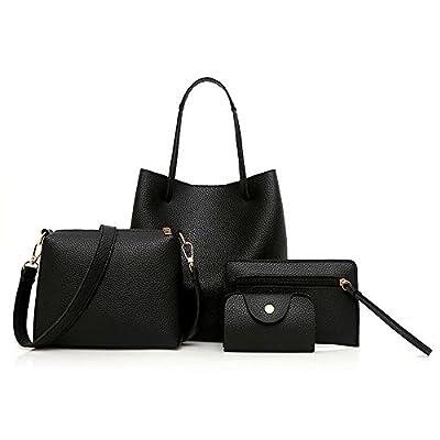 MORECON 2020 Women Shoulder Messenger Bag Purse Set 4 Pcs Leather Zipper Handbag Solid Shoulder Messenger Bag Purse Set (Black)