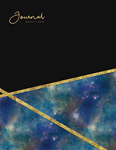 Journal Galaxy + Gold: Watercolor Astronomy Notebook - Lined 80-Page - Perfect Bound Cover: 1