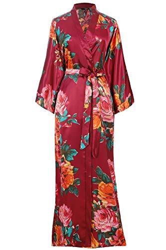 BABEYOND Kimono Robe Long Floral Bridesmaid Wedding Bachelorette Party Robe 53' (Wine Red)