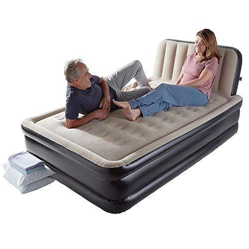 Coopers of Stortford Inflatable Double Air Bed With Headboard & Built-In Electric Pump