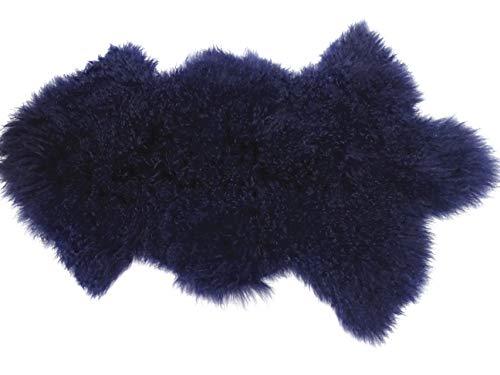 Deluxe Home Decorative Curly Fur Soft Plush 100% Real Genuine Mongolian (Tibetan) Lamb Wool Rug Carpet (Blue)