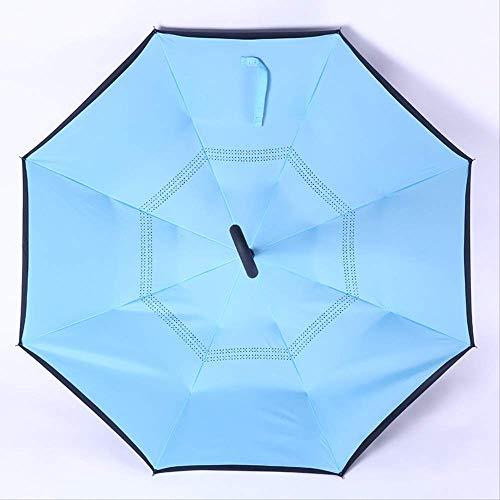 ZPF ParaguasA Prueba De Viento Revertido Plegado Doble Capa Paraguas Invertido Auto Soporte Protección contra La Lluvia C-Gancho Manos para Automóvil7