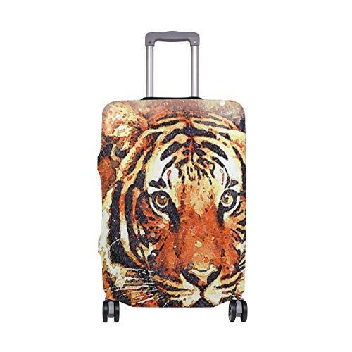 IUBBKI Travel Luggage Cover Tiger Face Watercolor Painting Suitcase Protector Fits XL Washable Baggage Covers