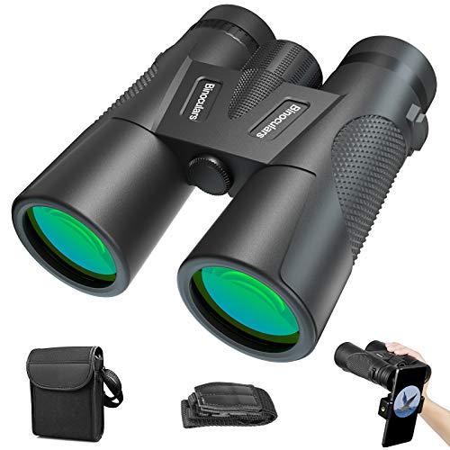 Binoculares Profesionales Prismáticos, Binoculares HD Portátiles de 12x42 con Clip para Teléfono Inteligente, Función de Visión Nocturna, con Bolsa, para Observación de Aves, Excursiones, Mundo Animal