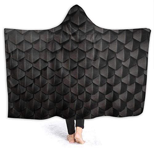 N \ B Manta con capucha de franela suave, escamas de dragón negro, manta para el hogar, sofá, cama, oficina, sala de estar y cálida decoración de cama, 156 x 50 pulgadas