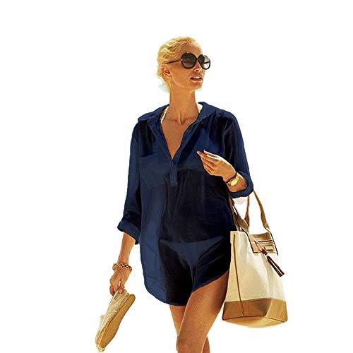Frauen Kimono Bluse Beachwear Bikini vertuschen Bademode Badeanzug V-Ausschnitt Strand Badekleid und Kaftan Bluse für Damen (Dunkelblau, XL)