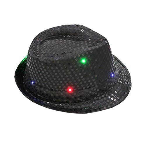 LUOEM LED Party Hut Jazz Hut Blinkende mit Pailletten für Silvester Party Kostüm Unisex Erwachsen (Schwarz)