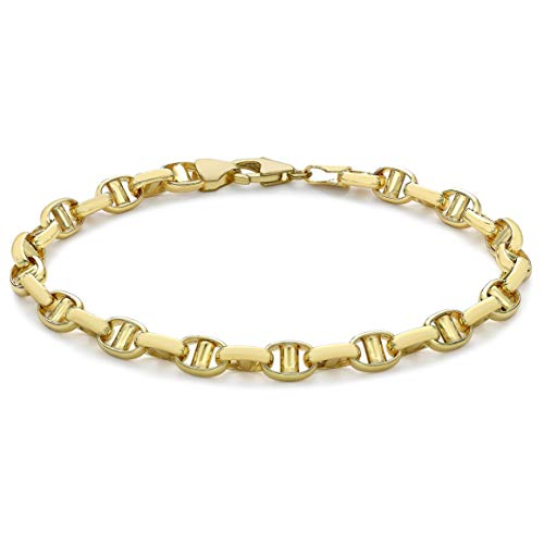 Carissima - Pulsera de cadena de oro amarillo de 9 quilates con cadena de Rambo pulida, 19 cm