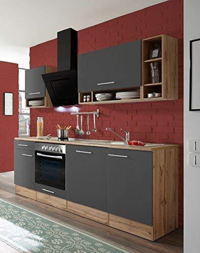 respekta Küchenzeile Küche Küchenblock Einbauküche Komplettküche 220 cm Wildeiche grau inkl. Geräte