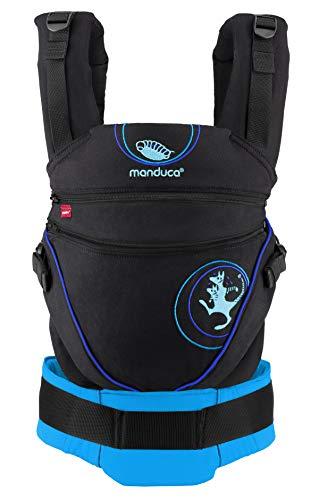 manduca XT Babytrage > Kanga blue < Babytrage mit verstellbarem Steg, Exklusive Lizenz von Kangatraining, Bio-Baumwolle, für Babys und Kleinkinder von 3,5 bis 20kg