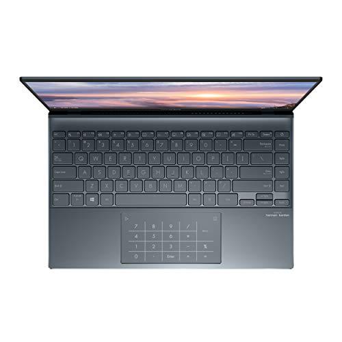 "ASUS ZenBook 14 Ultra-Slim Laptop 14"" Full HD NanoEdge Bezel Display, AMD Ryzen 5 5500U CPU, Radeon R5 Graphics, 8GB RAM, 512GB PCIe SSD, NumberPad, Windows 10 Home, Pine Grey, UM425UA-ES51"