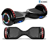 LONGTIME 6.5' Bluetooth Hoverboard Self Balancing Scooter with LED Lights Flashing Wheels (Black)