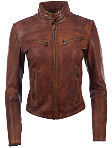 Aviatrix Damen superweiche Echtleder Mode Bikerjacke (CRD9)