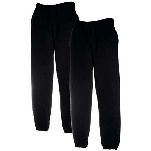 Fruit of the Loom 2 x joggingbroek elastische manchetten zwart L