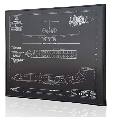 Bombardier CRJ-700 Blueprint Artwork-Laser Marked & Personalized-The Perfect Pilot Gifts