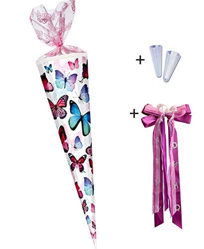 Nestler Schultüte zum Befüllen - Handgemachte Zuckertüte aus kaschiertem Karton - Wunderschönes Motiv Schmetterling 2016