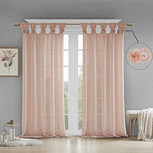 Madison Park Rosette Floral Embellished Cuff Tab Top Solid Window Treatments Curtain Panel Drape for Bedroom Living Room and Dorm, 50'x63', Blush
