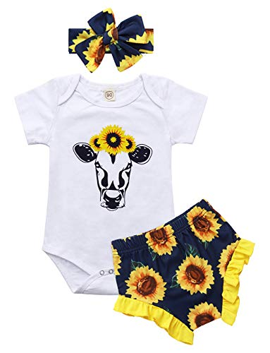 Edjude Bebé Niñas Conjuntos de Ropa para Recién Nacidos Girasol Cabeza de Toro Impresión 6-12 Meses