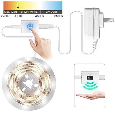 LED Under Cabinet Lighting Kit, Dorolla Under Counter Lights, Wave/Touch Activated Strip Lights, DC 12V Kitchen Lighting, Closet Lights
