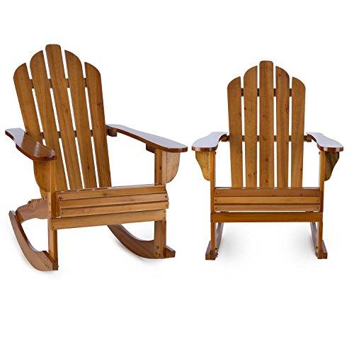 blumfeldt Rushmore Schaukelstuhl Schwingstuhl 2er Set - Adirondack-Stuhl, witterungsbeständig, Tannenholz, hohe Rückenlehne, breite Armlehne und Tiefe Sitzfläche, 71 x 95 x 105 cm, max. 150 kg, braun