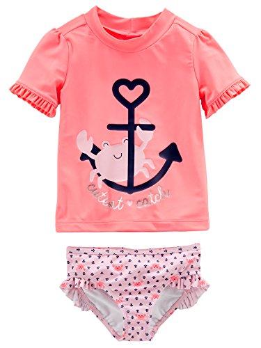Simple Joys by Carter's Baby-Mädchen 2-Piece Rashguard Set, Pink/Navy Stripe ,4T