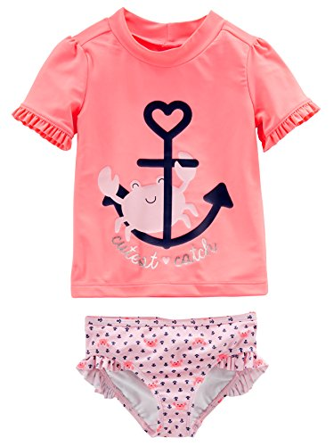 Simple Joys by Carter's Baby Girls' 2-Piece Rashguard Set, Pink/Navy Stripe, 6-9 Months