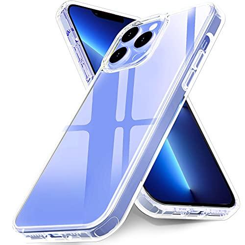 Ferilinso Custodia Cover per iPhone 13 Pro Max, 10x anti ingiallimento, Eccellente resistenza agli urti, Resistente ai graffi, Dorso rigido in PC con telaio flessibile, 5G 6.7 Pollici, Trasparente