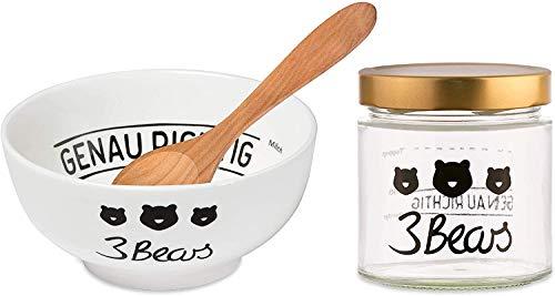 3Bears Porridge Liebhaber Set- Besteht aus Transportglas Löffel Schale Perfekte Zubehör für Dein Genau Richtiges Porridge Frühstück