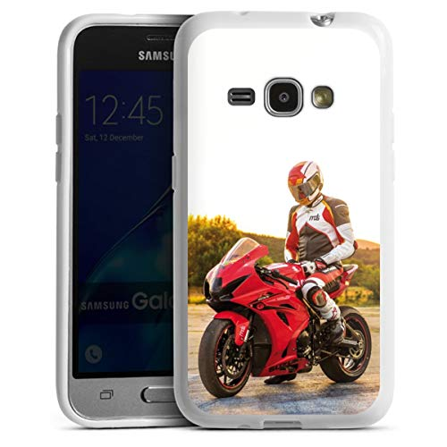 DeinDesign Silikon Hülle kompatibel mit Samsung Galaxy J1 (2016) Hülle weiß Handyhülle YouTube Motorrad Motorsport
