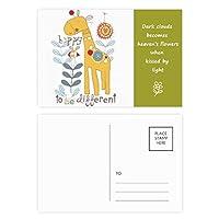 黄色のaniamal漫画キリン 詩のポストカードセットサンクスカード郵送側20個