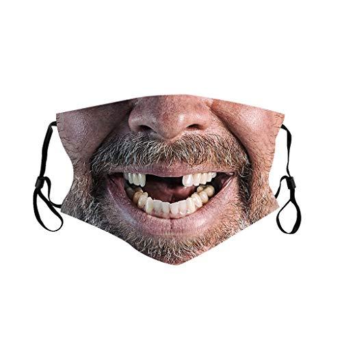 Blingko Wiederverwendbarer Sommer Bandana 3D Lustiger Gesichtshaut Druckter Mundschutz Waschbar Atmungsaktiver Halstuch