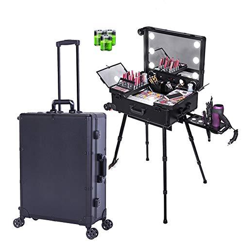 ZZSQ 4 en 1 Aluminium LED Beauté Trolley Maquillage Cosmétique Sac Vanity Case Coiffure Nail Art Salon Box,Noir
