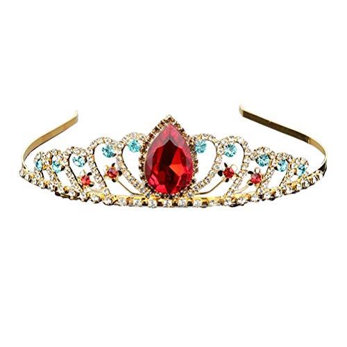 Corona de princesa roja de cristal de flor tiara dorada pequeña corona...