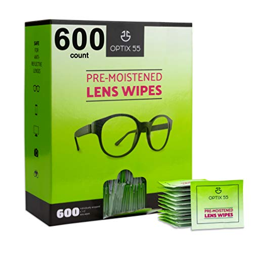 Eyeglass Cleaner Lens Wipes - 600 Pre-Moistened Individual Wrapped Packets in Hangable Box for Wall | Glasses Cleaner Wipe Safely Cleans Eye Glasses, Sunglasses, Screens & Electronics | Streak-Free