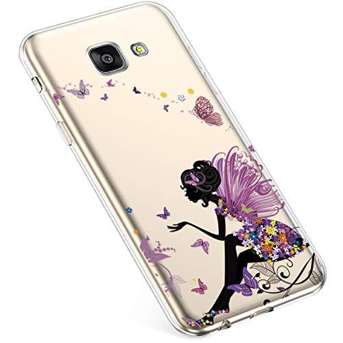 Uposao Funda compatible con Samsung Galaxy A5 2016, funda transparente de silicona TPU, funda transparente de silicona TPU, funda para teléfono móvil, carcasa blanda de TPU, carcasa trasera de hada