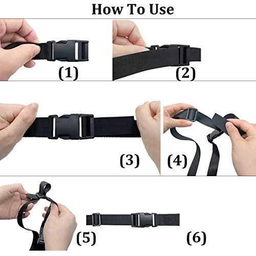 HOLLY TRIP Set of 2 Adjustable Luggage Straps, Utility Strap for Outdoor Sports, Backpacking, Air Mattresses, Sleeping Bag Compression, Luggage, Bundling, with Quick Release Buckle (3.2' x 1