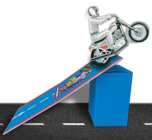 Evel Knievel Stunt Cycle Bike Ramp - Stow & Go Adjustable Launch Ramp - 3 Different Height Options - 12' x 23' Foldable Ramp For Easy Storage - Compatible With 1970's Original Evel Knievel Stunt Cycle